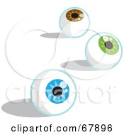Royalty Free RF Clipart Illustration Of Three Brown Green And Blue Eyeballs by Rosie Piter