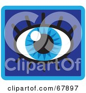 Royalty Free RF Clipart Illustration Of A Sparkling Blue Eye With Eyelashes On A Blue Background
