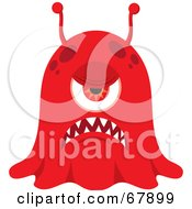 Royalty Free RF Clipart Illustration Of A Grumpy Red Blob Monster