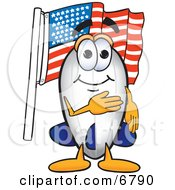 Clipart Picture Of A Blimp Mascot Cartoon Character Pledging Allegiance To The American Flag by Toons4Biz