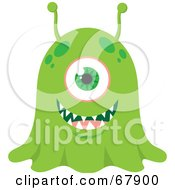 Royalty Free RF Clipart Illustration Of A Wide Eyed Green Blob Monster