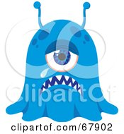 Royalty Free RF Clipart Illustration Of A Crying Blue Blob Monster