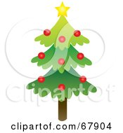 Royalty Free RF Clipart Illustration Of A Single Evergreen Christmas Tree With A Star And Red Ornaments by Rosie Piter