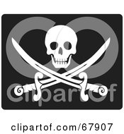 Royalty Free RF Clipart Illustration Of A White Skull Over Crossed Pirate Swords On Black