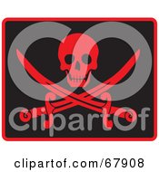 Royalty Free RF Clipart Illustration Of A Red Skull Over Crossed Pirate Swords On Black