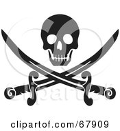 Royalty Free RF Clipart Illustration Of A Black Skull Over Crossed Pirate Swords On White