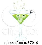 Royalty Free RF Clipart Illustration Of A Spider Crawling On A Green Halloween Eyeball Martini by Rosie Piter