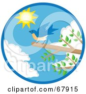 Royalty Free RF Clipart Illustration Of A Blue Bird Landing On A Branch With Green Foliage Against The Sky