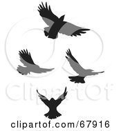 Royalty Free RF Clipart Illustration Of A Digital Collage Of Black Flying Bird Silhouettes by Rosie Piter