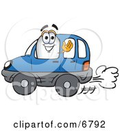 Clipart Picture Of A Blimp Mascot Cartoon Character Driving A Blue Car And Waving by Toons4Biz