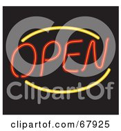 Royalty Free RF Clipart Illustration Of A Neon Red And Yellow Open Sign On Black by Rosie Piter