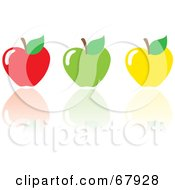 Royalty Free RF Clipart Illustration Of Red Green And Yellow Apples With Reflections by Rosie Piter