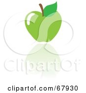 Royalty Free RF Clipart Illustration Of A Green Apple With A Reflection by Rosie Piter