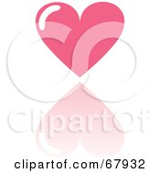 Royalty Free RF Clipart Illustration Of A Pink Love Heart With A Reflection