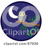 Royalty Free RF Clipart Illustration Of A Gray Owl Perched On A Tree Branch Under A Starry Night Sky by Rosie Piter