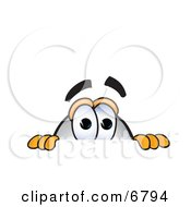Clipart Picture Of A Blimp Mascot Cartoon Character Scared And Peeking Over A Surface by Toons4Biz