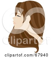 Royalty Free RF Clipart Illustration Of A Beautiful Brunette Woman With Long Hair by Rosie Piter