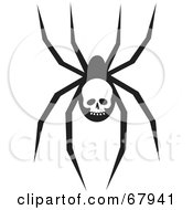 Royalty Free RF Clipart Illustration Of A Creepy Black Spider With A Skull Marking