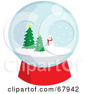 Snowglobe With A Snowman And Evergreens