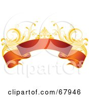 Royalty Free RF Clipart Illustration Of A Red And Gold Floral Banner Version 3