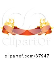 Royalty Free RF Clipart Illustration Of A Red And Gold Floral Banner Version 4