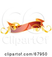 Royalty Free RF Clipart Illustration Of A Red And Gold Floral Banner Version 5