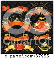 Royalty Free RF Clipart Illustration Of A Digital Collage Of Gold And Red Floral Banners And Crown On A Black Patterned Background