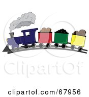 Royalty Free RF Clipart Illustration Of A Steam Train Hauling Carts Of Products by Pams Clipart