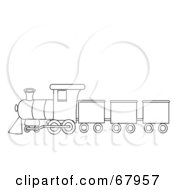 Royalty Free RF Clipart Illustration Of A Black And White Train Outline