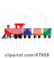 Royalty Free RF Clipart Illustration Of A Colorful Train With Different Box Cars