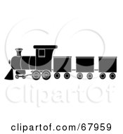 Royalty Free RF Clipart Illustration Of A Black And White Train In Profile by Pams Clipart