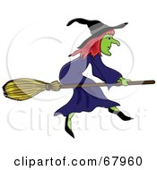 Royalty Free RF Clipart Illustration Of A Wicked Witch On Her Broom Stick by Pams Clipart