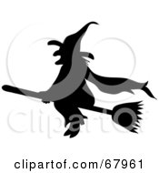 Royalty Free RF Clipart Illustration Of A Silhouetted Black Wicked Witch Flying