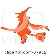 Royalty Free RF Clipart Illustration Of An Orange Silhouetted Witch Flying On Her Broom