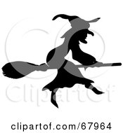 Royalty Free RF Clipart Illustration Of A Black Silhouetted Witch On Her Broom Stick