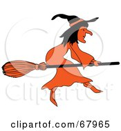 Royalty Free RF Clipart Illustration Of A Black And Orange Wicked Witch Flying On A Broom