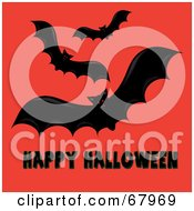 Red Eyed Bats Over Black Happy Halloween Text