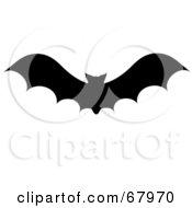 Flying Silhouetted Vampire Bat