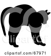 Royalty Free RF Clipart Illustration Of A Silhouette Of A Cat Stretching In Black by Pams Clipart