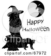 Royalty Free RF Clipart Illustration Of A Cat By A Black And White Witch Stirring A Spell In A Cauldron Under A Moon by Pams Clipart