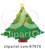 Royalty Free RF Clipart Illustration Of A Festive Green Christmas Tree With Colorful Ornaments by Pams Clipart