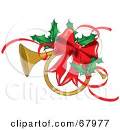 Royalty Free RF Clipart Illustration Of A Brass French Horn Adorned With A Red Bow And Christmas Holly