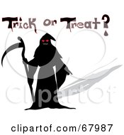 Royalty Free RF Clipart Illustration Of A Scary Grim Reaper Holding A Scythe With Trick Or Treat Text