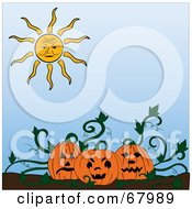 Royalty Free RF Clipart Illustration Of A Sun Shining Down On Jackolanterns In A Pumpkin Patch by Pams Clipart