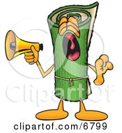 Clipart Picture Of A Green Carpet Mascot Cartoon Character Screaming Into A Megaphone