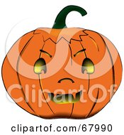Royalty Free RF Clipart Illustration Of A Fanged Orange Jack O Lantern Pumpkin With Yellow Glowing Light by Pams Clipart