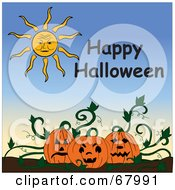 Royalty Free RF Clipart Illustration Of A Sun And Happy Halloween Text Above A Pumpkin Patch