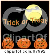 Royalty Free RF Clipart Illustration Of A Full Moon And Trick Or Treat Text Over Three Pumpkins by Pams Clipart