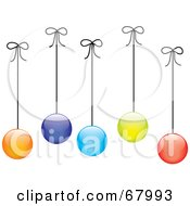 Royalty Free RF Clipart Illustration Of Colorful Christmas Balls Hanging From Strings by Pams Clipart