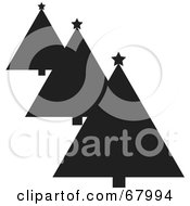 Royalty Free RF Clipart Illustration Of A Row Of Black And White Silhouetted Christmas Trees by Pams Clipart